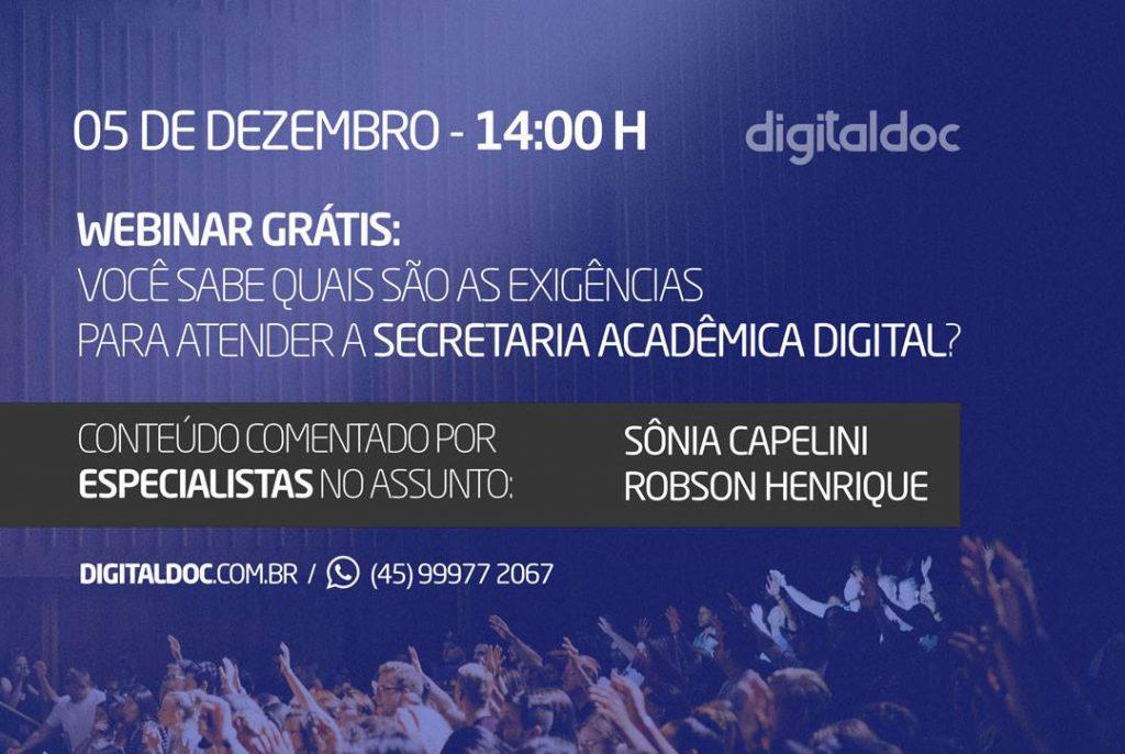 Convite para webinar sobre Secretaria Academica Digital